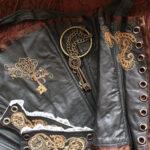 Steampunk corset and cuffs #steampunk #victorian #corset #embroidery