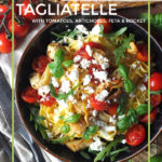 Tagliatelle with artichokes, feta and rocket.This easy 10 minute recipe serves one, but can be scaled up. #pasta #tagliatelle #dinnerforone
