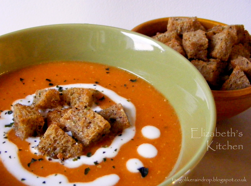 Red Lentil Soup with Garlic & Seaweed Croutons