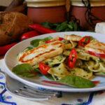 Seaweed Farfalle & Pesto with Fiery Chilli Halloumi