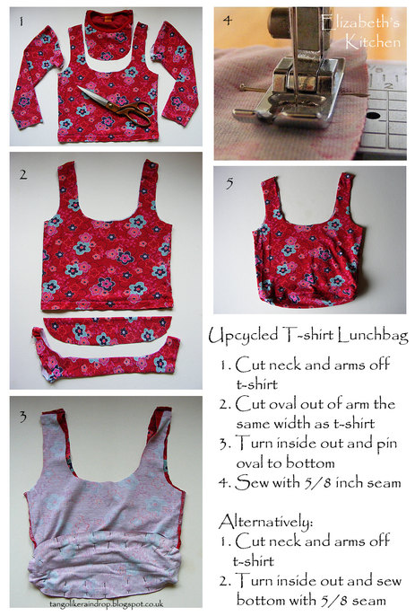 upcycled tshirt lunchbag