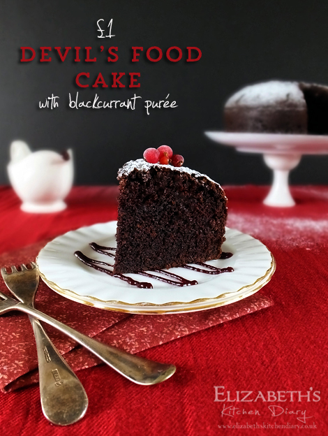 devils food cake with blackcurrant puree