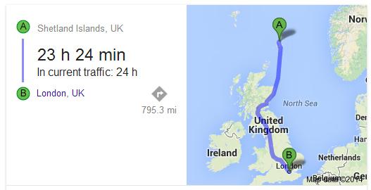 shetland to london