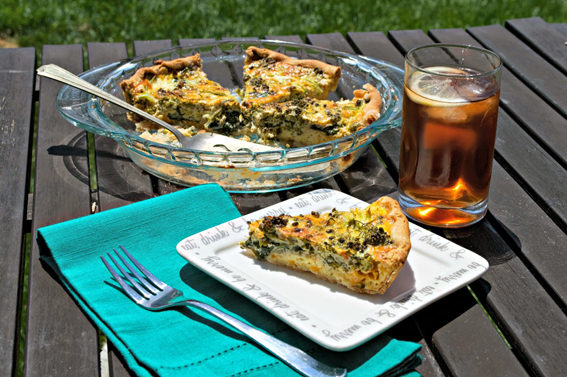 Broccoli & Rainbow Chard Quiche by Cooking for