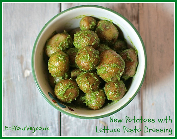 New Potatoes with a Lettuce Pesto Dressing by Eat Your Veg