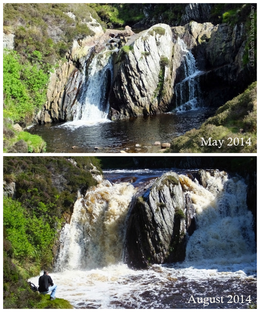 Burn of Lunklet - Normal waterflow in May 2014 and after the heavy rainfall in August 2014