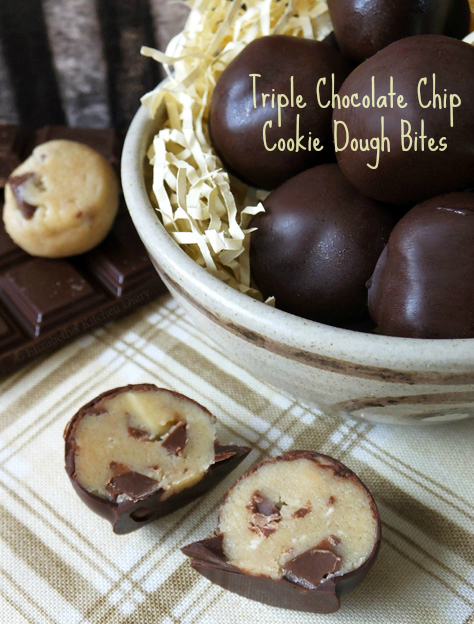 Triple Chocolate Chip Cookie Dough Bites by Elizabeth's Kitchen Diary