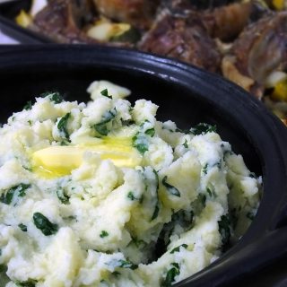 cheesy mashed potatoes with kale
