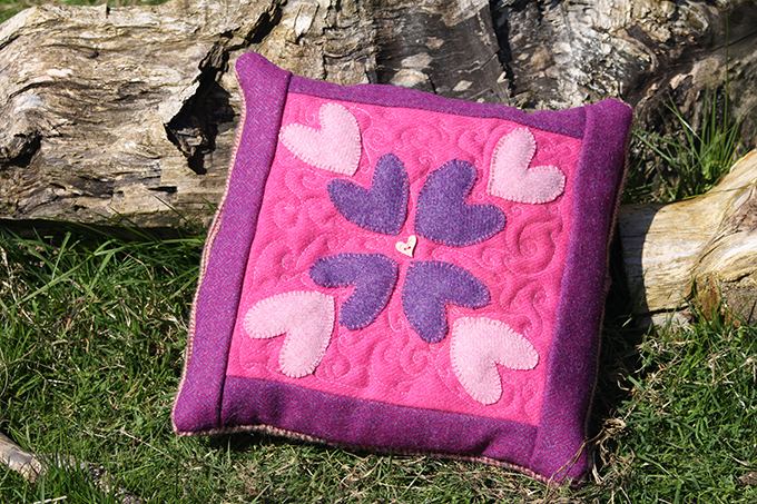 harris tweed heart pillow