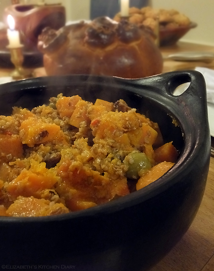 Butternut squash with chestnuts and green olives