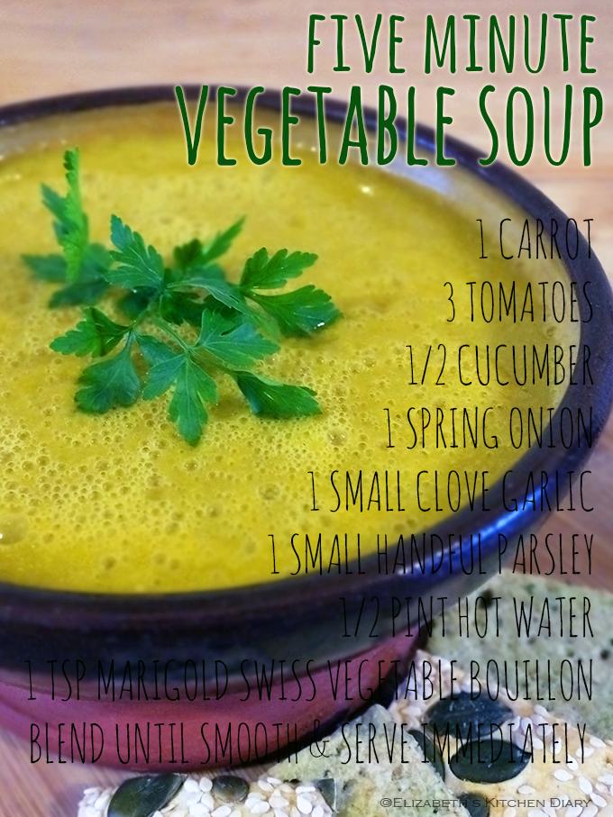 Five Minute Vegetable Soup