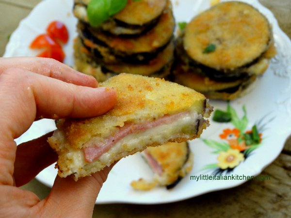 Mozzarella and eggplant ham sandwich