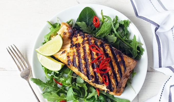 Grilled Shetland Salmon with Ginger & Lemongrass