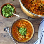 Chunky Vegetable Soup with Spinach-Cashew Pesto