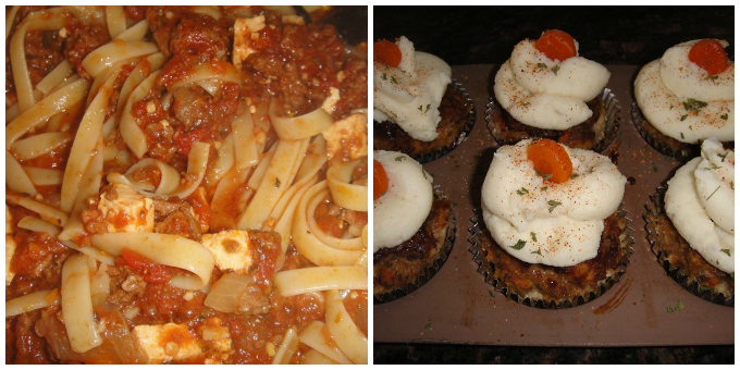 Spaghetti with Meat Sauce/Meat Loaf Cupcakes