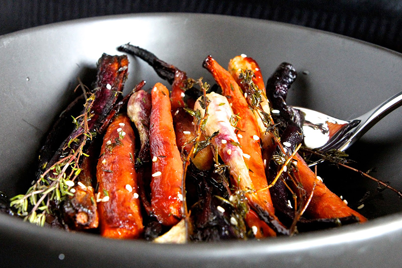 Honey-Glazed Thyme-Roasted Spring Carrots & Parsnips