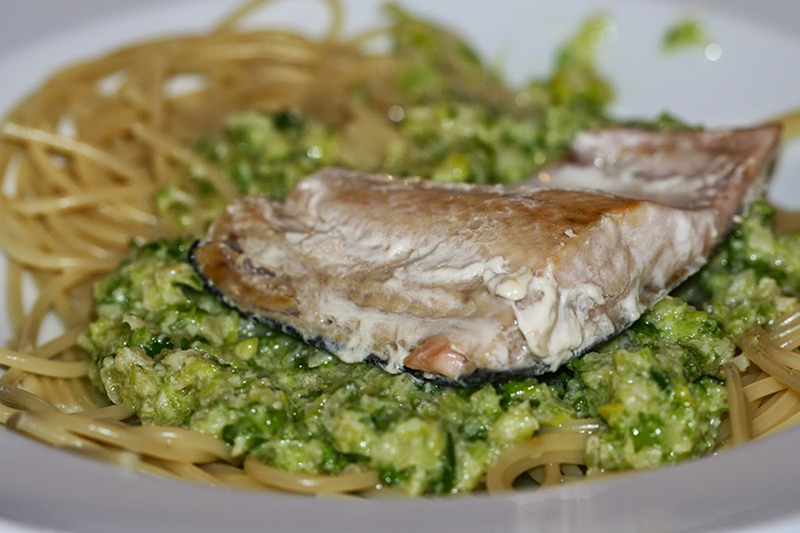 Salmon Linguine with Leek Pesto