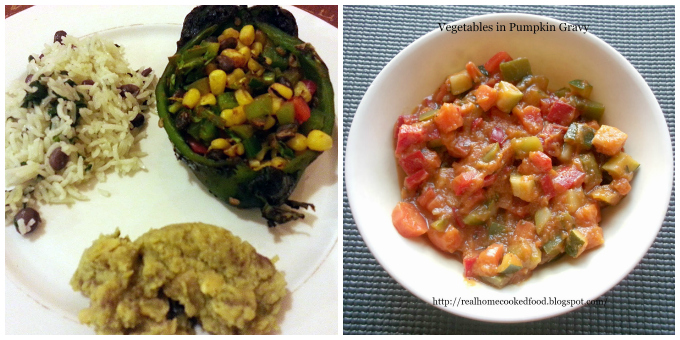 Roasted Vegetables and Black Bean Stuffed Poblano Peppers/Vegetables in Pumpkin Gravy
