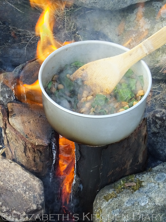 Vegan Middle Eastern Spiced Camp Fire Chickpeas over a Nordic Fire Log