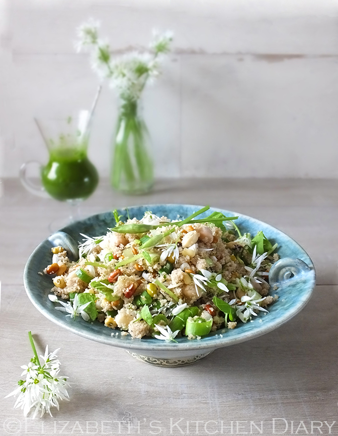 Teff Salad with Sprouted Beans, Pea Shoots and Wild Garlic {vegan}