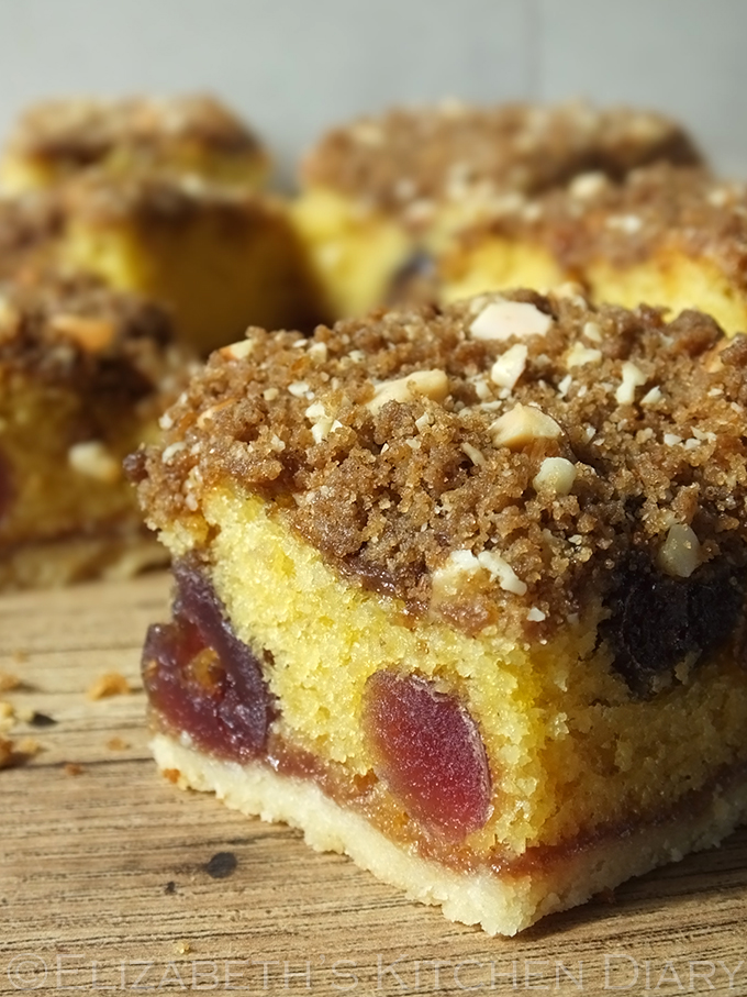 Cherry & Almond Crumble Cake Squares