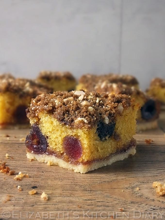 Cherry & Almond Crumble Cake Squares