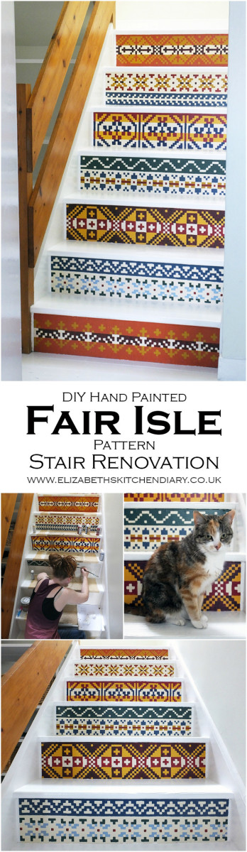 DIY Handpainted Fair Isle Stairs