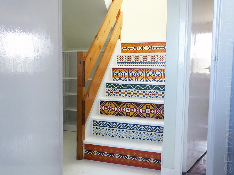 DIY Hand Painted Fair Isle Pattern Stair Renovation