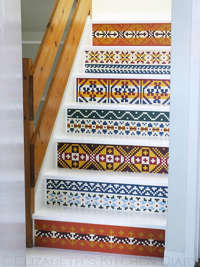 Hand Painted Fair Isle Pattern Stair Renovation