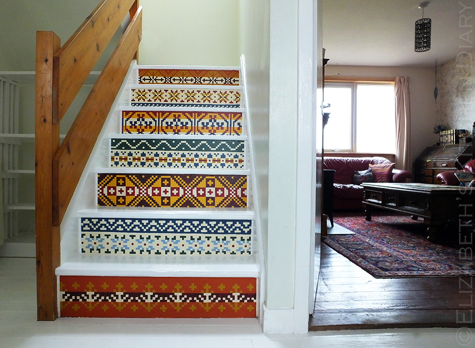 Fair Isle Stairs and living room