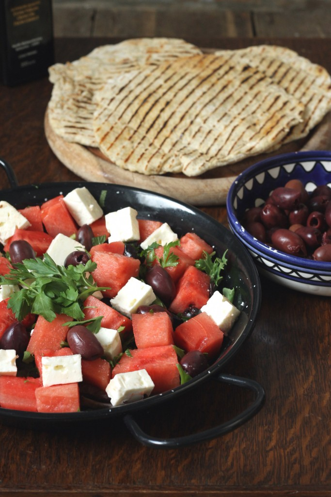 Greek Watermelon Salad with Quick Sumac Yogurt Flatbreads