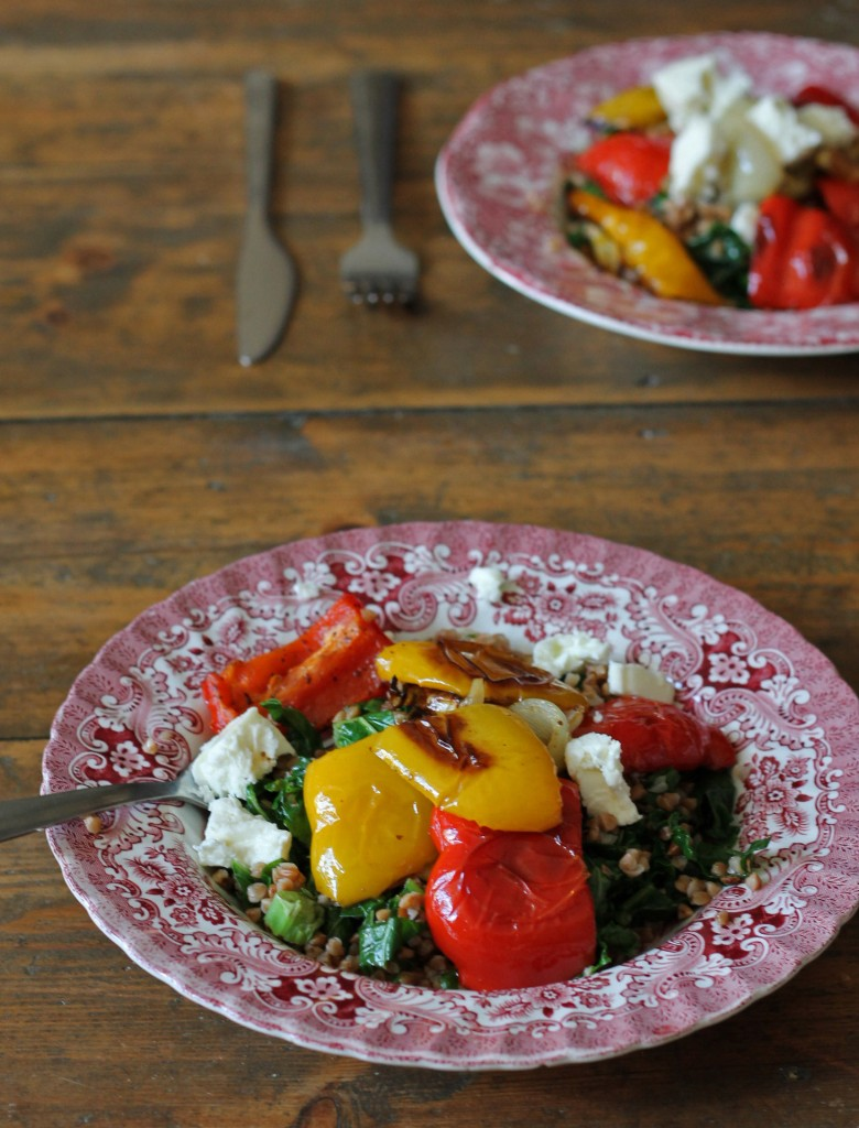Sumac Roasted Peppers with Kasha Buckwheat Salad