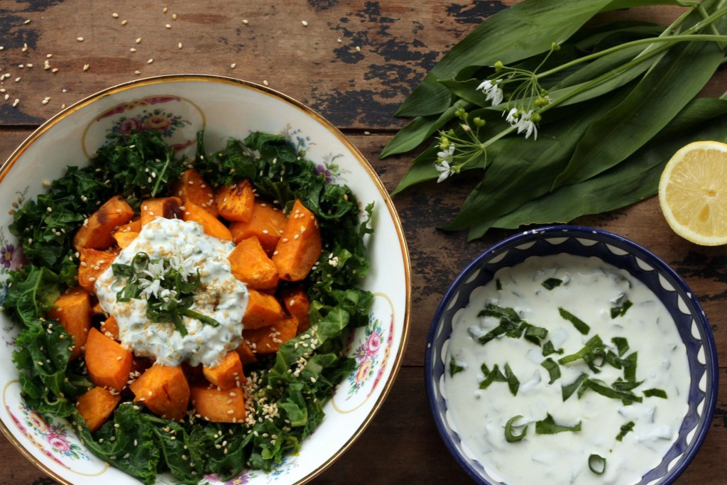 Sweet Potato, Kale and Wild Garlic Salad by Veggie Desserts