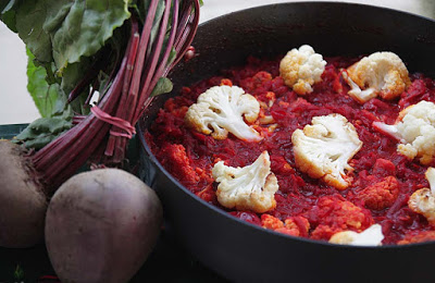 Roasted Cauliflower, Beetroot and Paneer Curry with Nigella Seeds