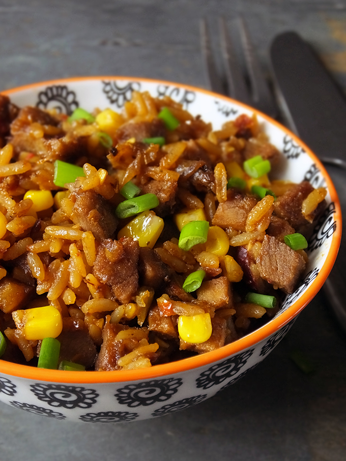 Sticky Brown Sugar Glazed Pork with New Orleans Style Rice