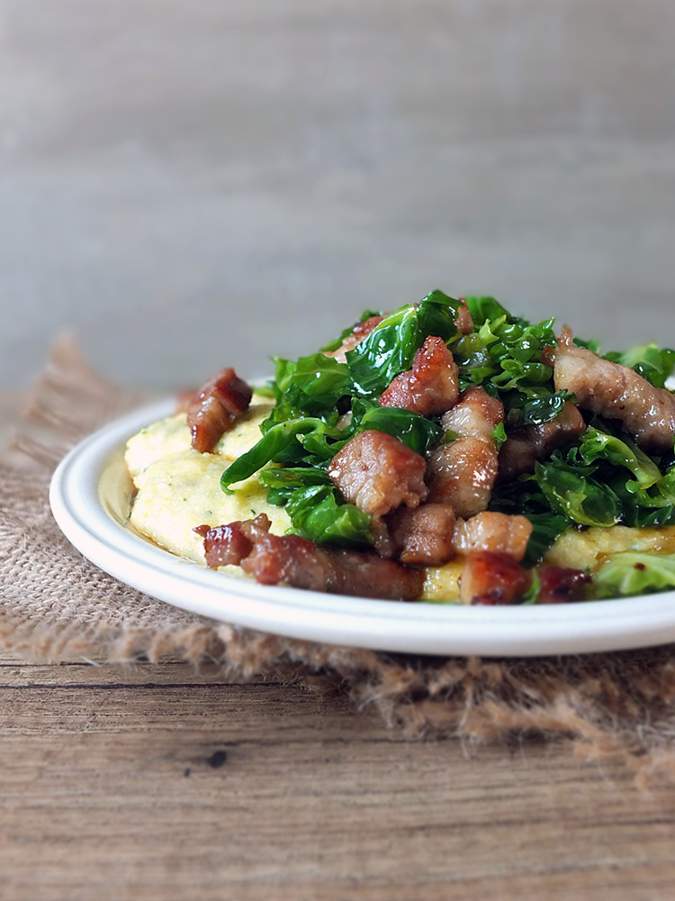 Maple Glazed Sprout Tops and Streaky Pork with Creamy Polenta