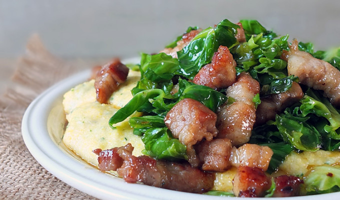 Maple-Glazed Sprout Tops and Crispy Pork with Creamy Polenta