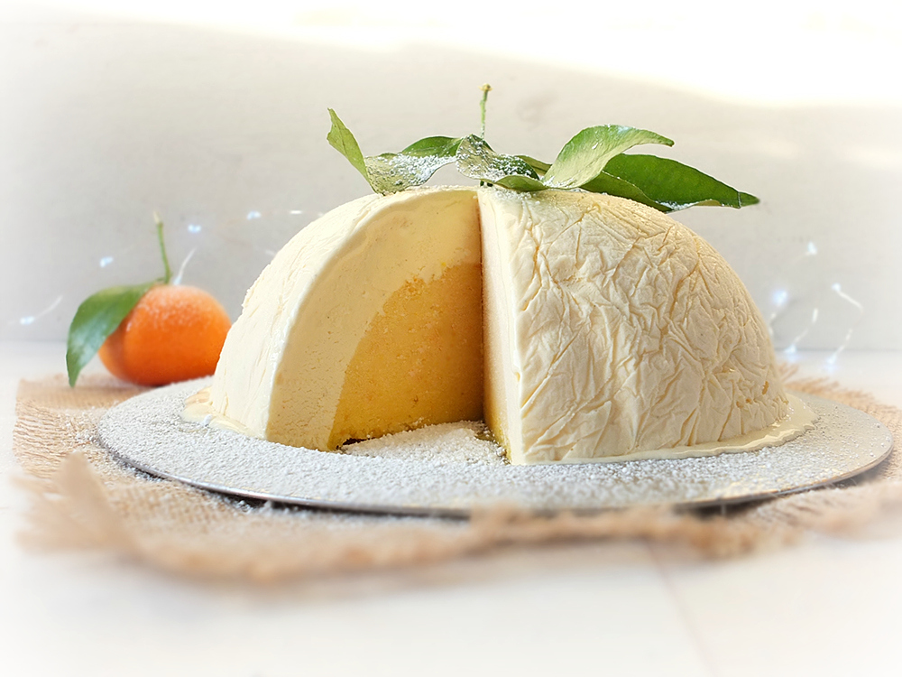 White Chocolate and Clementine Ice Cream Bombe