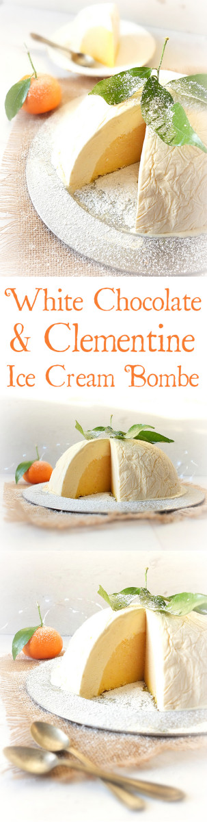 Serve something different for Christmas pudding this year - how about this white chocolate and clementine ice cream bombe - with real gold flakes!