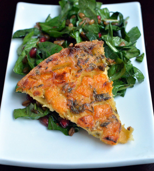 Butternut Squash Farinata with Spinach Salad and Pomegranate Vinaigrette