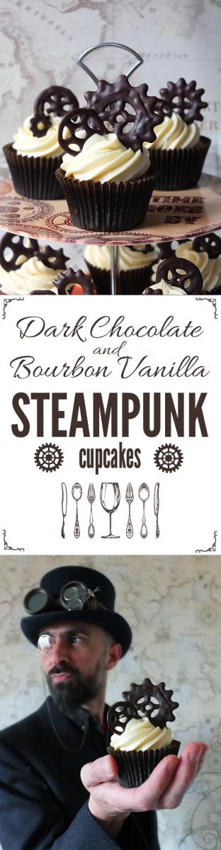 Dark Chocolate and Bourbon Vanilla Steampunk Cupcakes