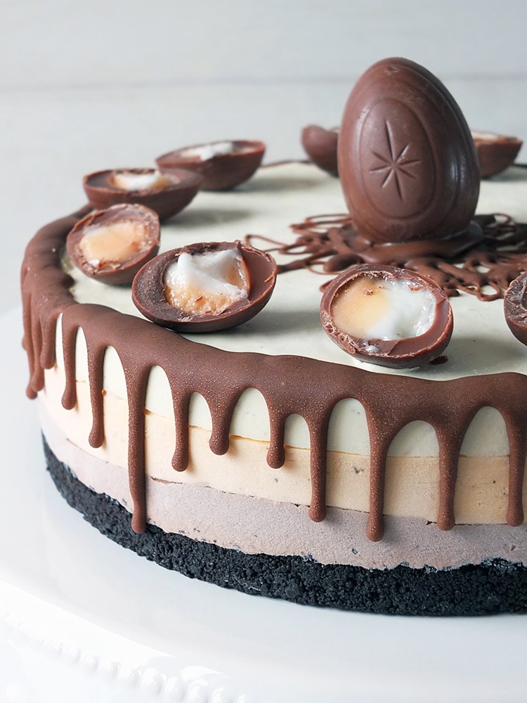 Cadbury Creme Egg No Churn Ice Cream Layer Cake