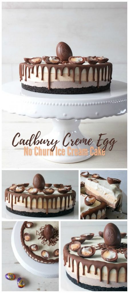 Cadbury Creme Egg No Churn Three Layer Ice Cream Cake