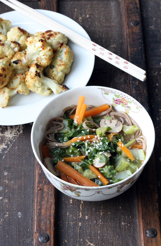 Cauliflower Leaf Miso Soba Soup and Miso Ginger Roasted Cauliflower by Veggie Desserts
