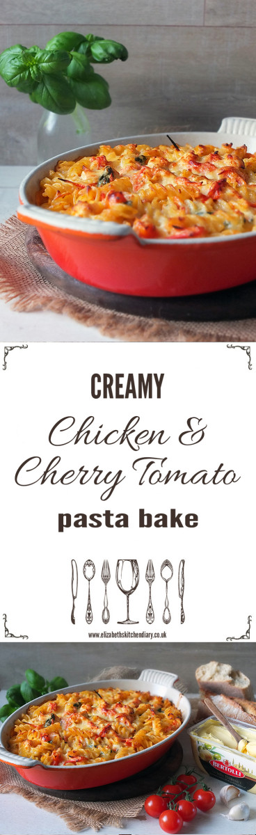 Creamy Chicken & Cherry Tomato Pasta Bake made with Bertolli with Butter