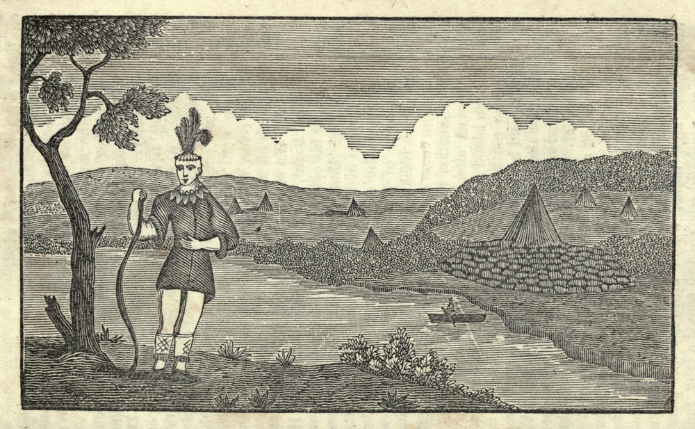 Illustration of Lewis and Clark's expedition from 1803-6. Native American and Indian encampment by Everett Historical