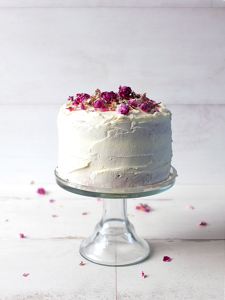 Gluten Free Vanilla Sponge with Rose Scented Buttercream Frosting
