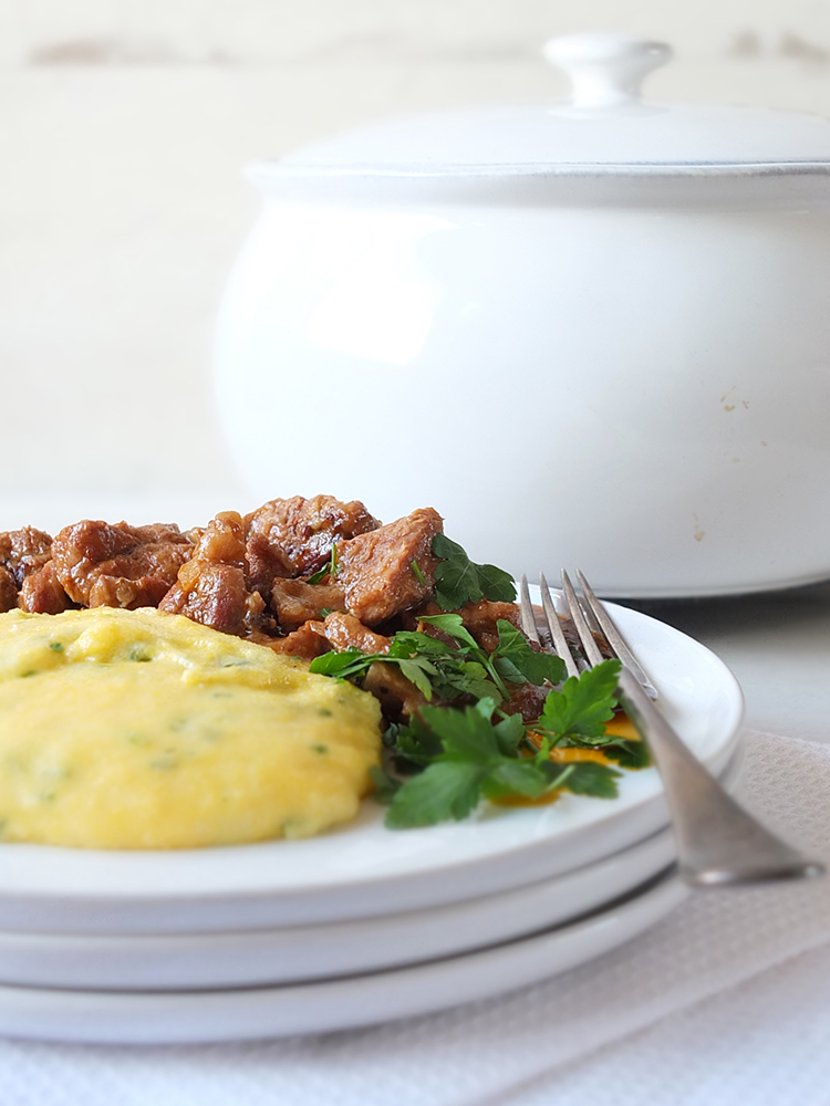 Slow Cooked Shetland Lamb Casserole with Creamy Herbed Polenta