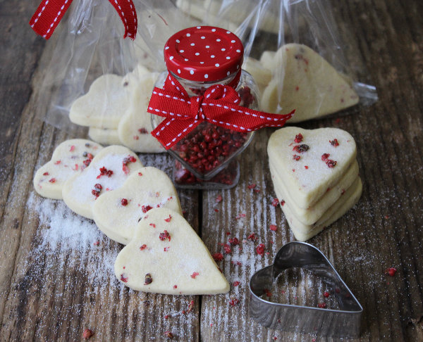Pink Peppercorn Shortbread Hearts by Tales from the Kitchen Shed
