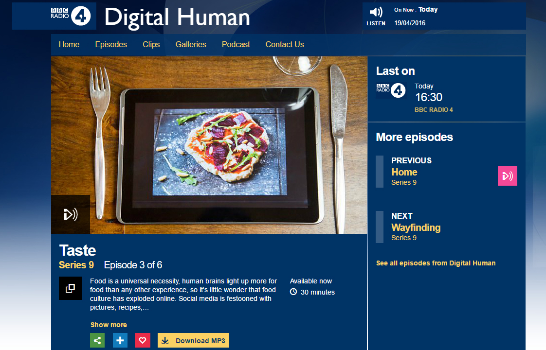 BBC Radio 4 Digital Human: Taste